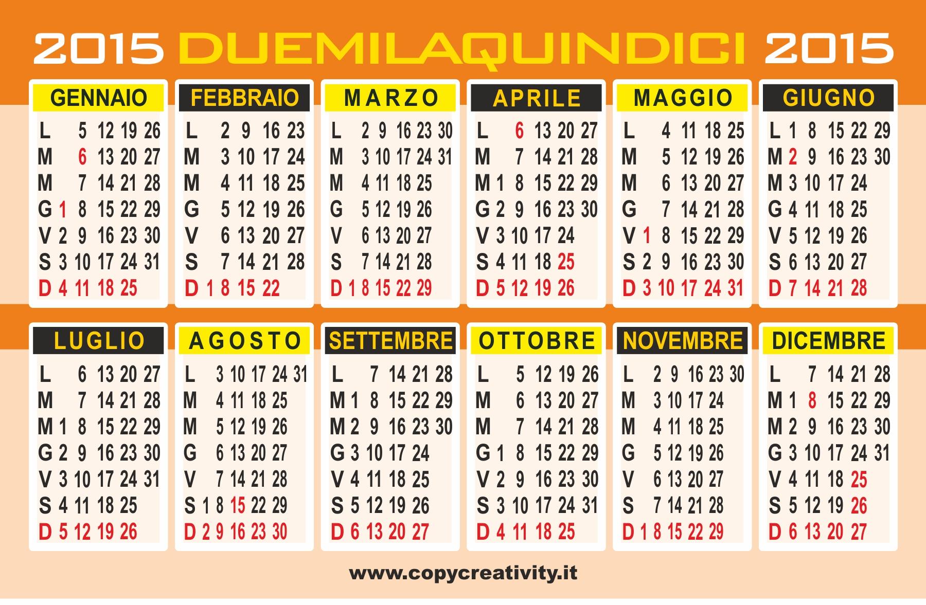 Calendario Vettoriale 2015 | New Calendar Template Site